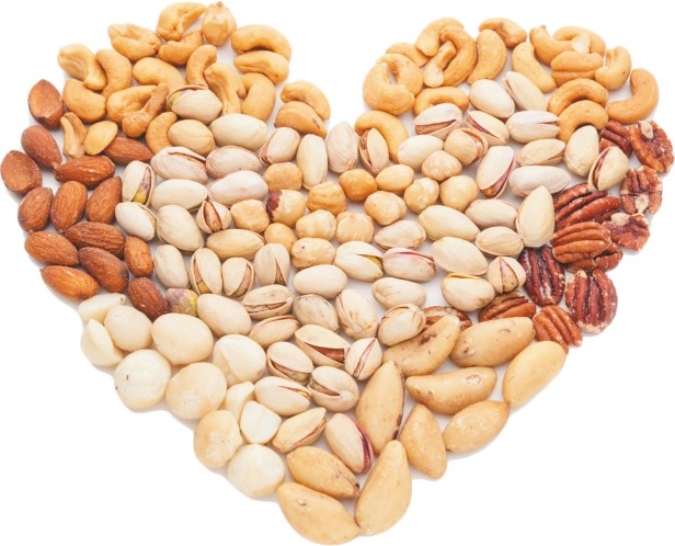 Heart shape made of mixed nuts